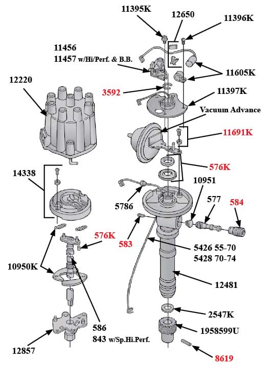 chevrolet v8 distributor diagram part