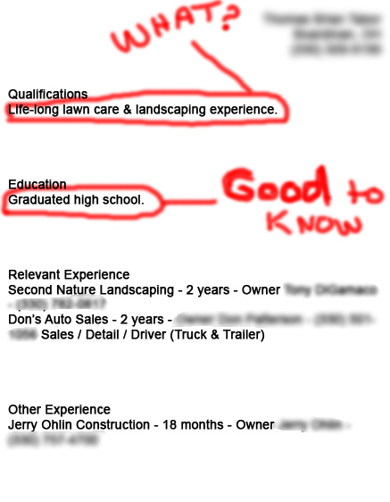 resume for job not qualified for