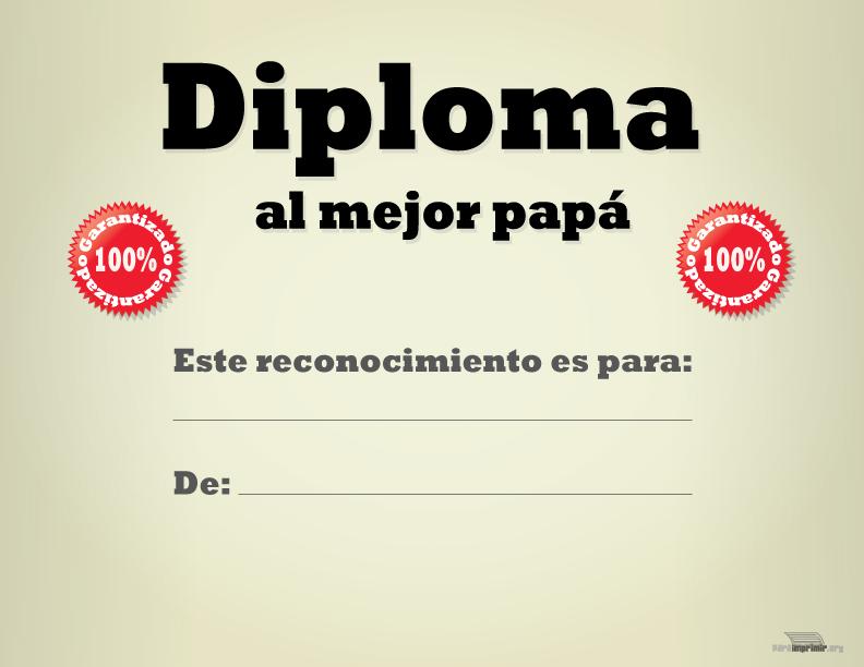 Diploma al mejor Papá para imprimir - certificado de reconocimiento para imprimir