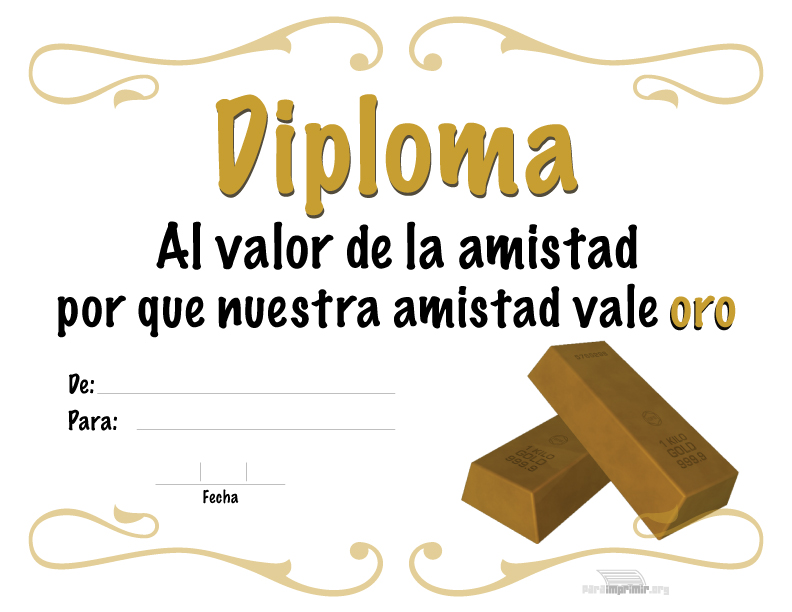 Diploma al valor de la amistad para imprimir