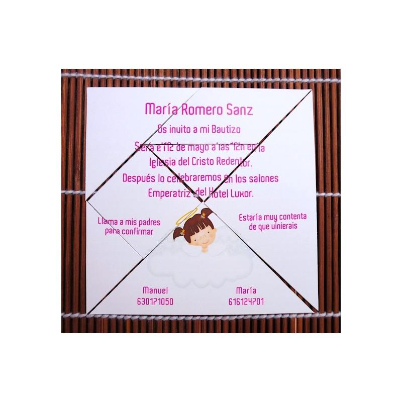 invitaciones para bautizo en original formato tipo tangram