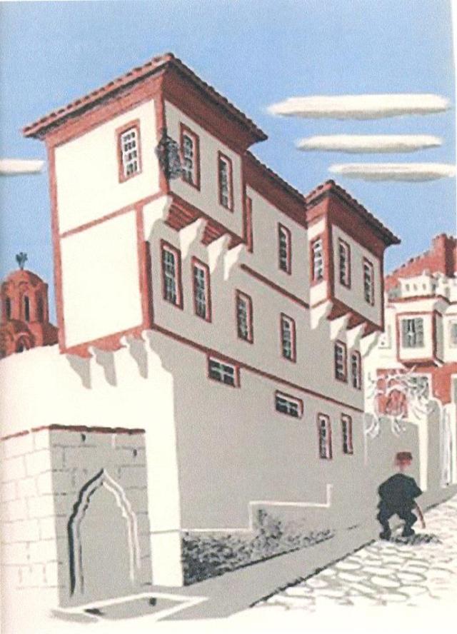 Βρύση κοντά στην Αγ. Αικατερίνη. Σκίτσο του Lancaster από το βιβλίο του. (Από Δήμη Τζιβοπούλου).