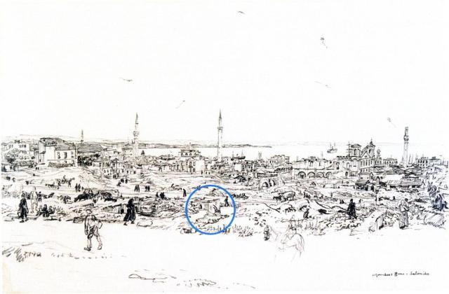 Μέσα στον κύκλο βρύση στην περιοχή της Αρχαίας Αγοράς. Δεξιά ο ναός του Αγίου Νικολάου του Τρανού. Σχέδιο του Murhead Bone 1917.