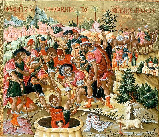 Τα αδέλφια του πετούνε τον Ιωσήφ στο πηγάδι. Πάνω δεξιά το καραβάνι των εμπόρων και κάτω δεξιά το ζώο που έσφαξαν και με το αίμα του έβαψαν τον χιτώνα του Ιωσήφ για να πιστέψει ο πατέρας τους ότι είναι νεκρός.