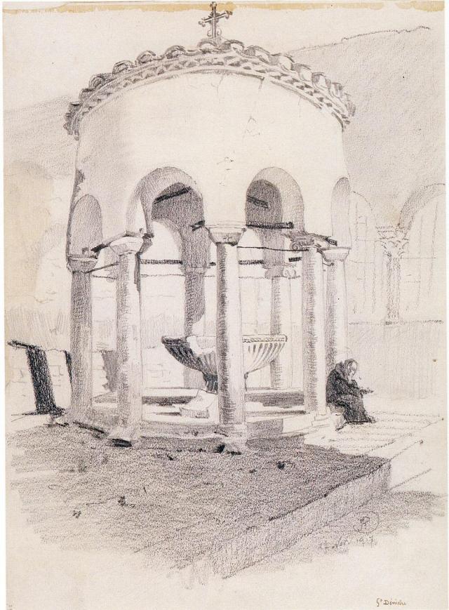 Φιάλη Αγ. Δημητρίου. Σχέδιο του Ruedolf 1917. Συλλογή Καλφαγιάν