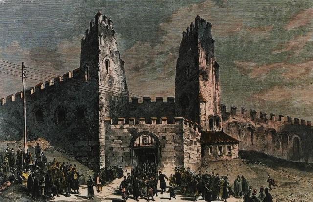 Δεξιά της Ληταίας Πύλης και κολλημένες στα τείχη οι καμάρες του υδραγωγείου του Λεμπέτ που έφερνε νερό στη δεξαμενή των Αγ. Αποστόλων. Ξυλογραφία επιχρωματισμένη. 1876.