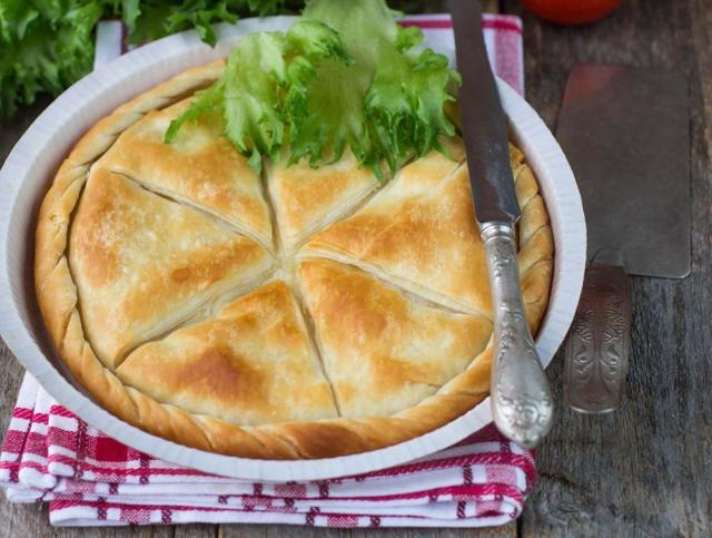 Tiropita - Greek pie made of Filo dough with cheese Feta