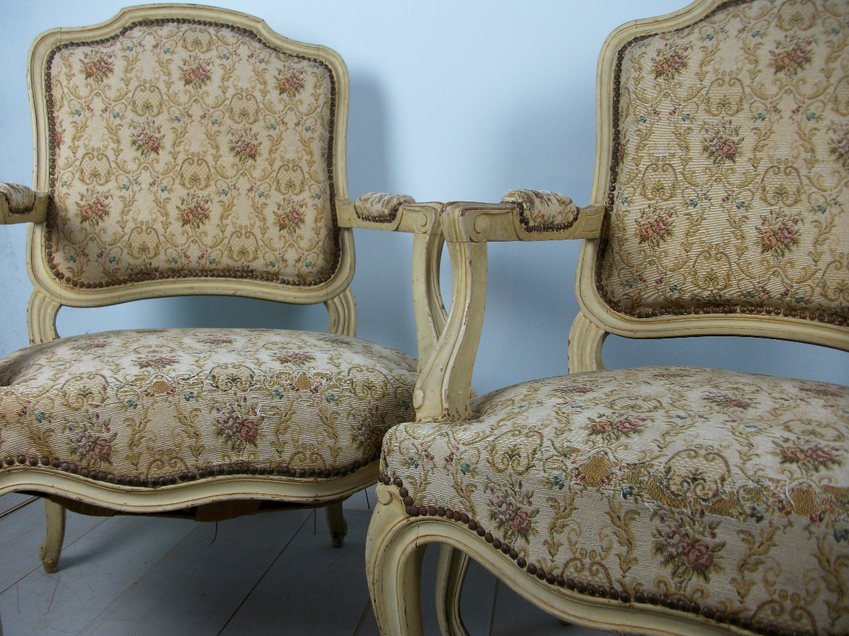 Pair Of French Painted Fauteuils