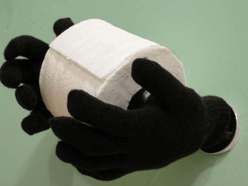Old Gloves Transform Into A Creepy Toilet Paper Butler