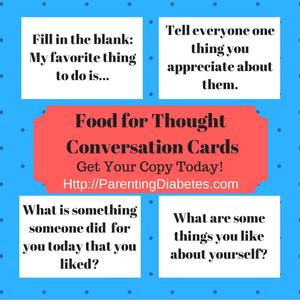 Have meaninful conversations with your kids! Food for Thought Conversation Cards help promote healthy talk at the dinner table!