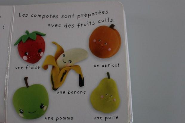 livre pour bébé avec des fruits humanisés