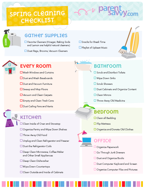 Bedroom Cleaning List Weekly House Cleaning Schedule Printable - Sample Spring Cleaning Checklist