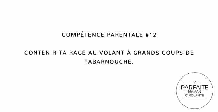 COMPETENCE 12 RAGE AU VOLANT