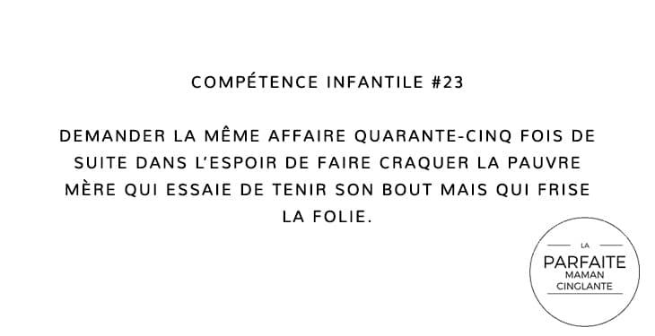 COMPTENCE INFANTILE 23 DEMANDER
