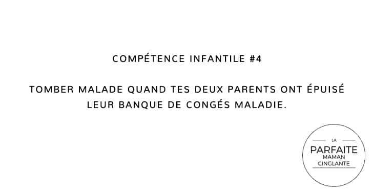 COMPÉTENCE INFANTILE 4 TOMBER MALADE