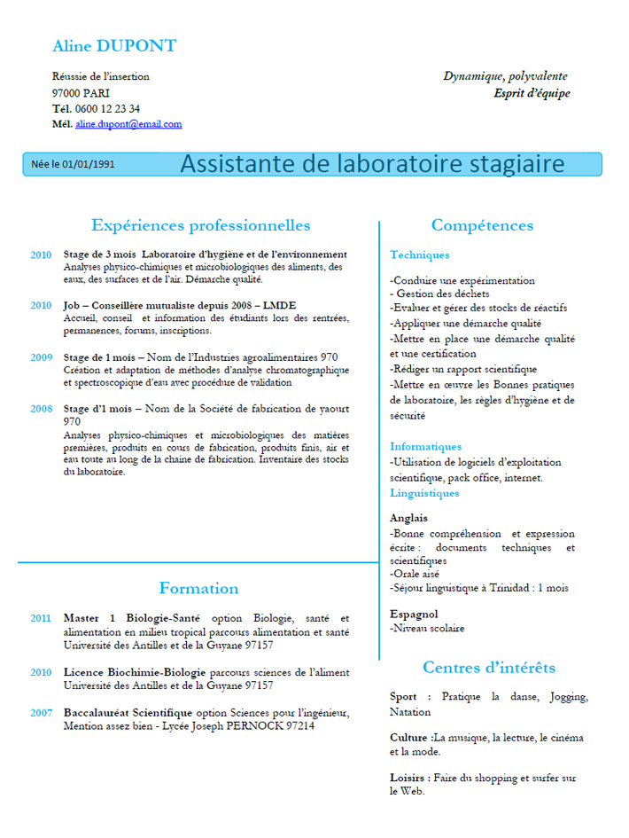 stage professionnel cv