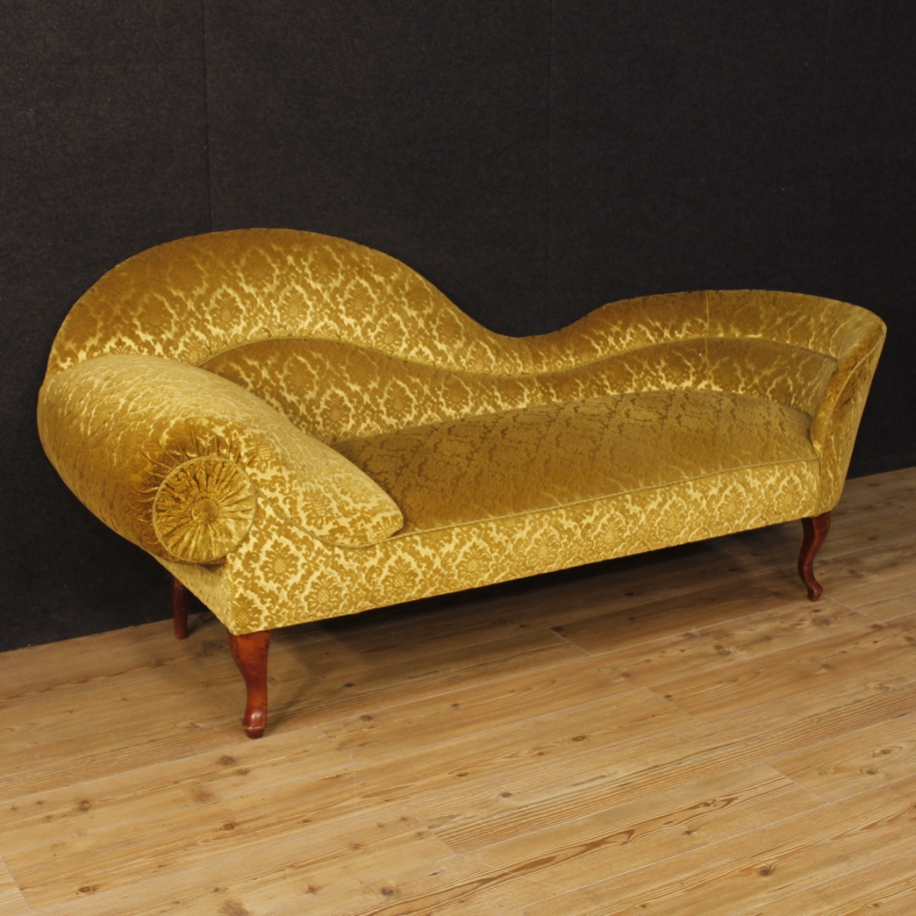 French Chaise French Chaise Longue In Damask Velvet