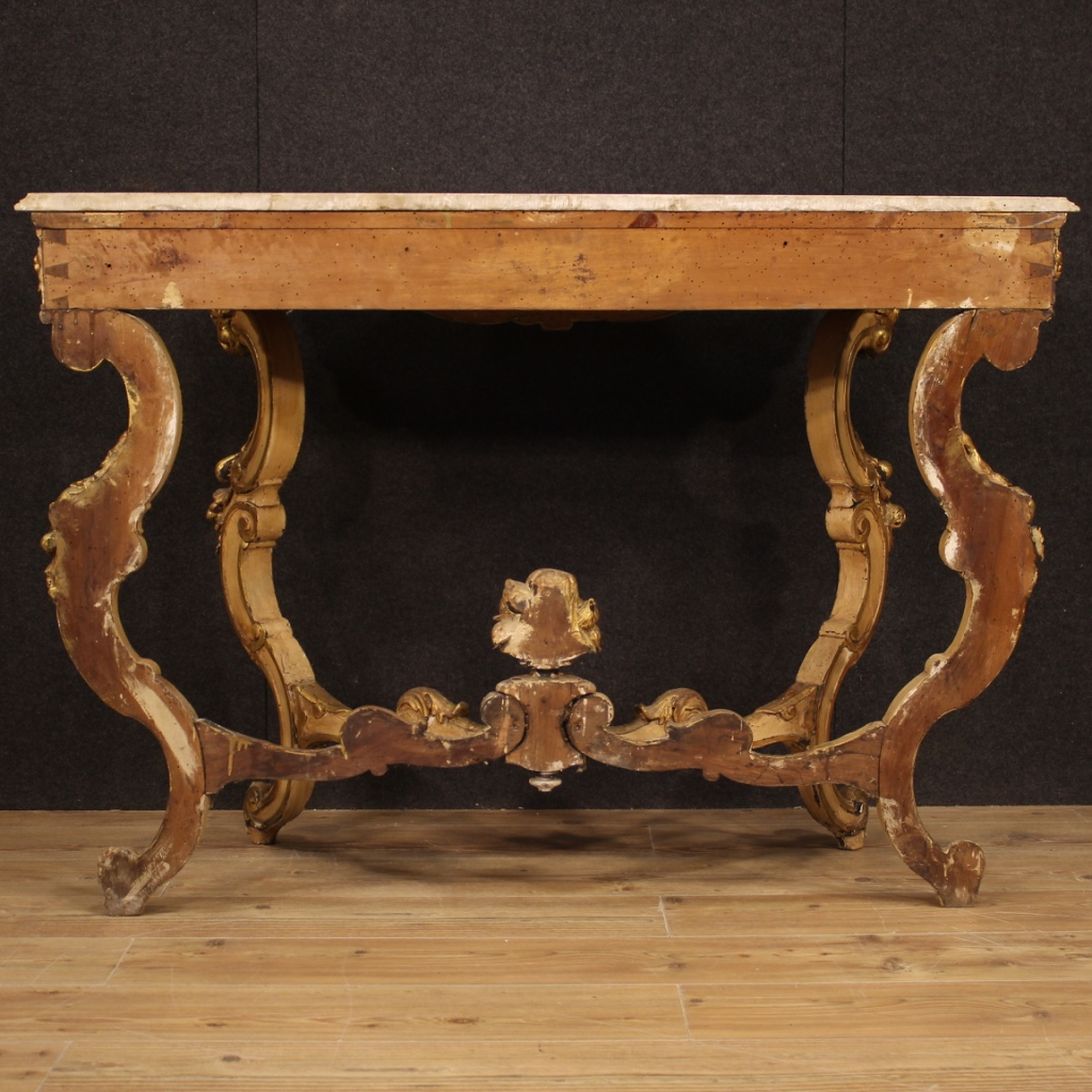 Console Furniture Table Lacquered Gilt Wood Antique Style Louis Philippe Marble Ebay