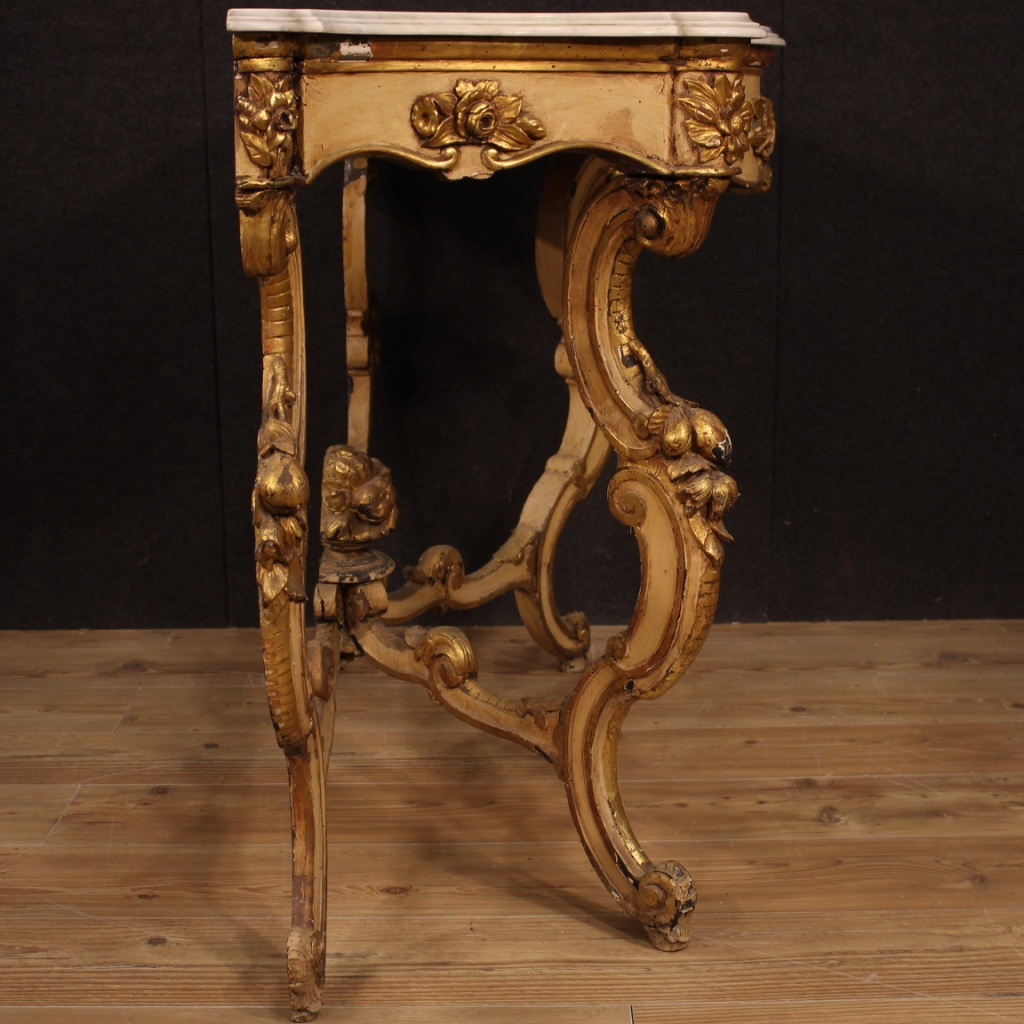 Lacquered Gilt Console Wood Marble Antique Style Furniture Table Living Room Ebay