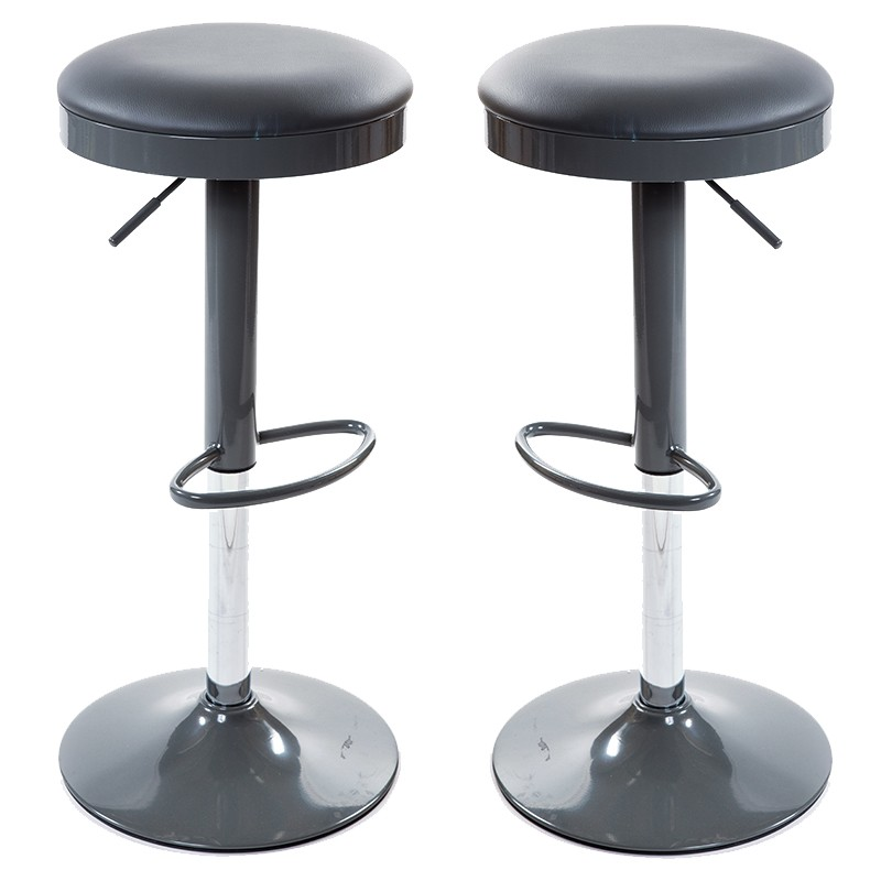 Lot De 2 Tabourets De Bar Lelio Gris - York Lot De 2 Tabourets De Bar Noir