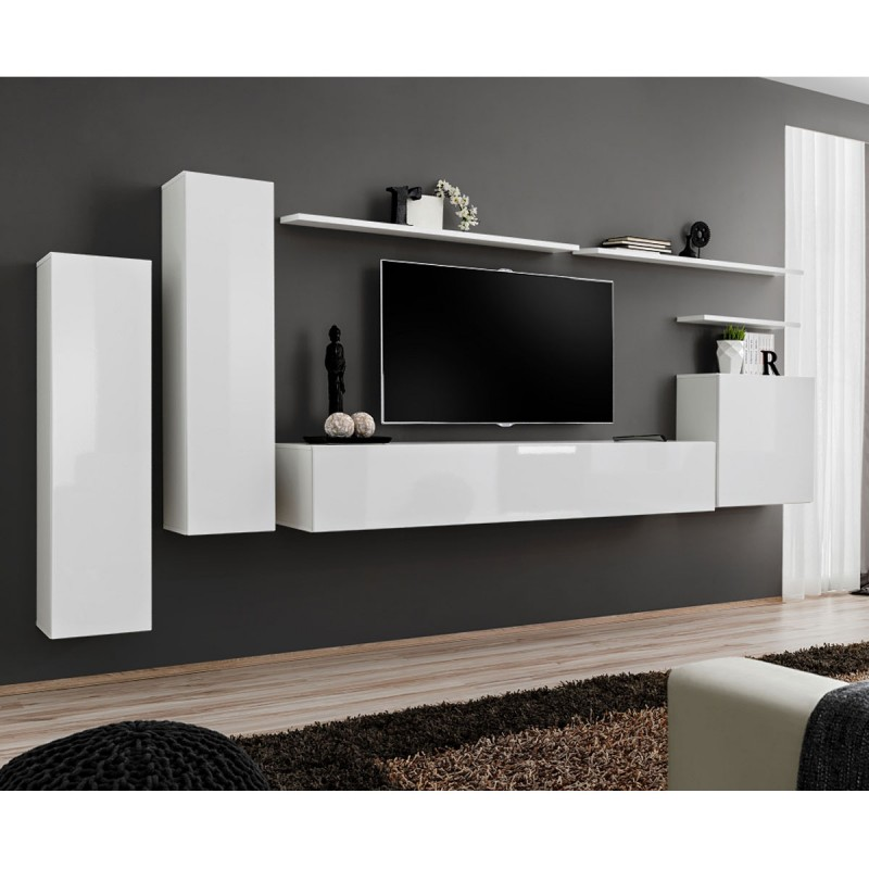 "Meusieur Meuble Meuble Tv Mural Design ""switch I"" 330cm Blanc"