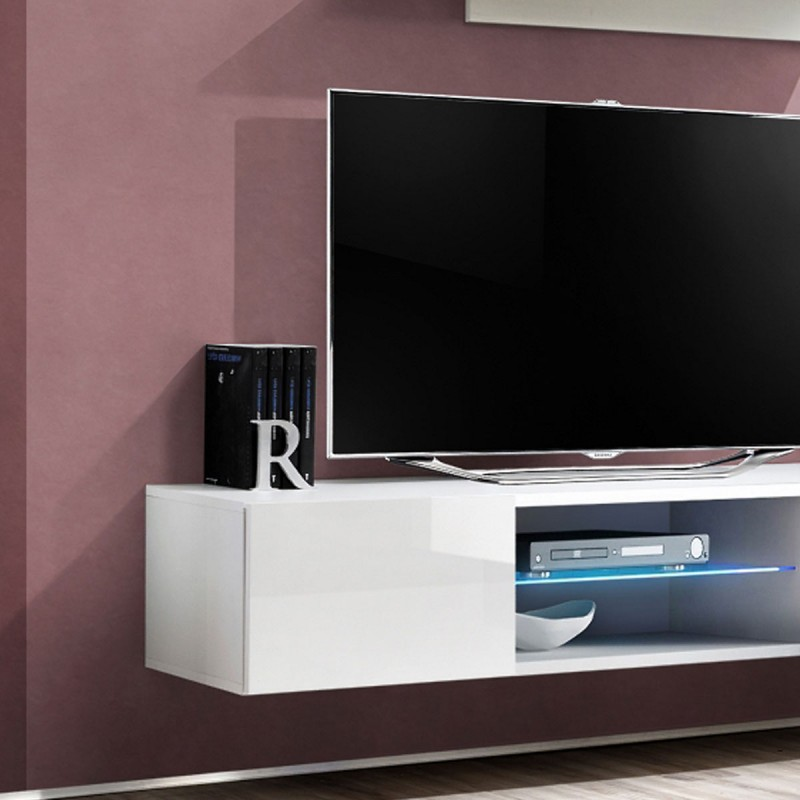 "Meuble Tv Tele Suspendu Meuble Tv Mural Design ""fly Iii"" 160cm Blanc"