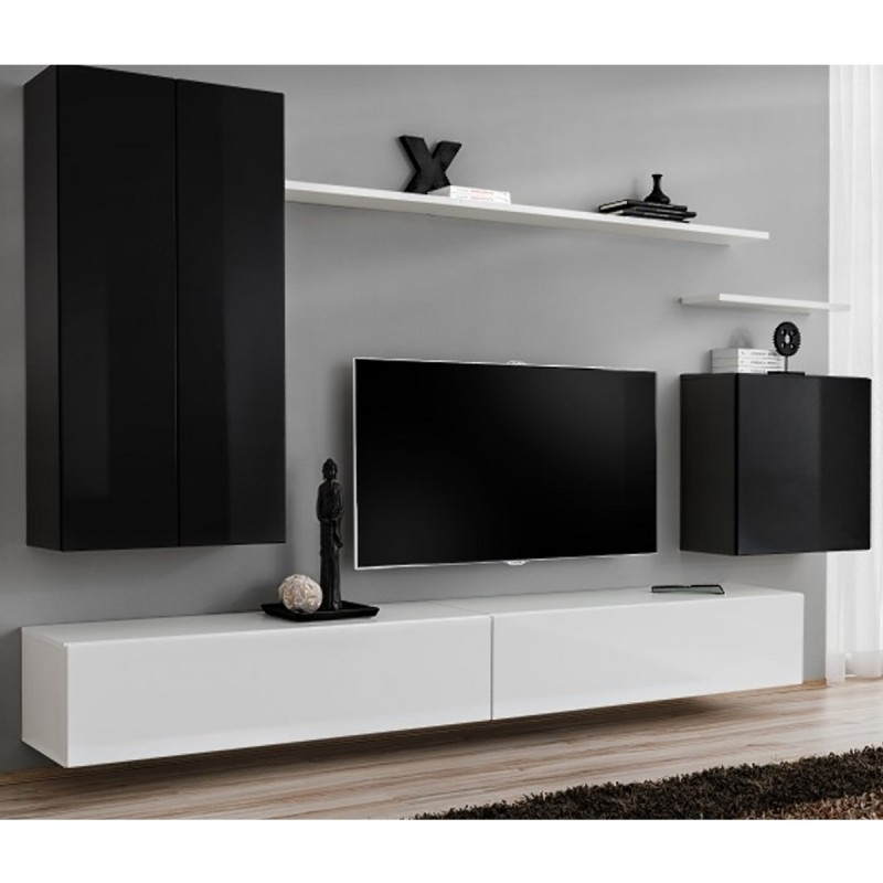 "Meusieur Meuble Meuble Tv Mural Design ""switch Ii"" 270cm Noir & Blanc"