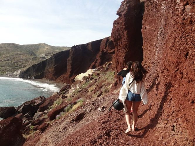 red beach walking