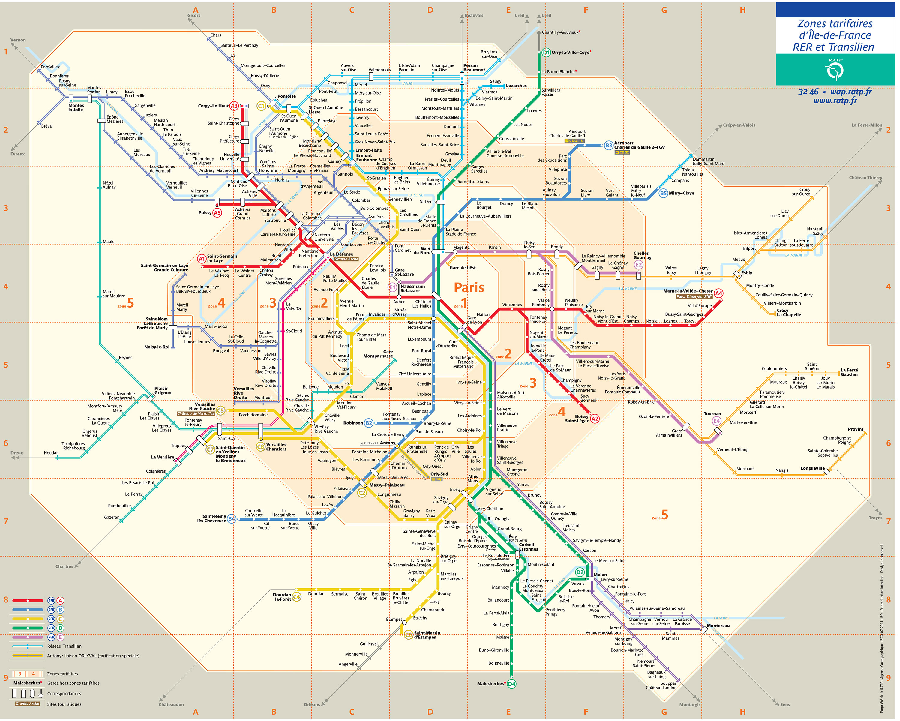 Paris Train Map Of Paris Rer Transilien Train Stations Lines