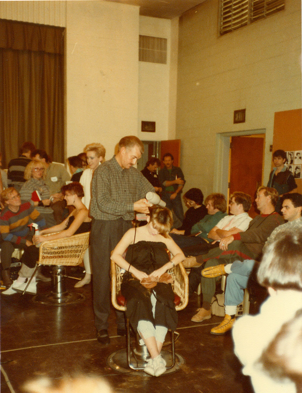 Pre-Paris Parker, Debra models for Irwin Rusk, founder of the RUSK product line, at a stylist education event put on by Neill Corporation. | Source: Debra Neill Baker