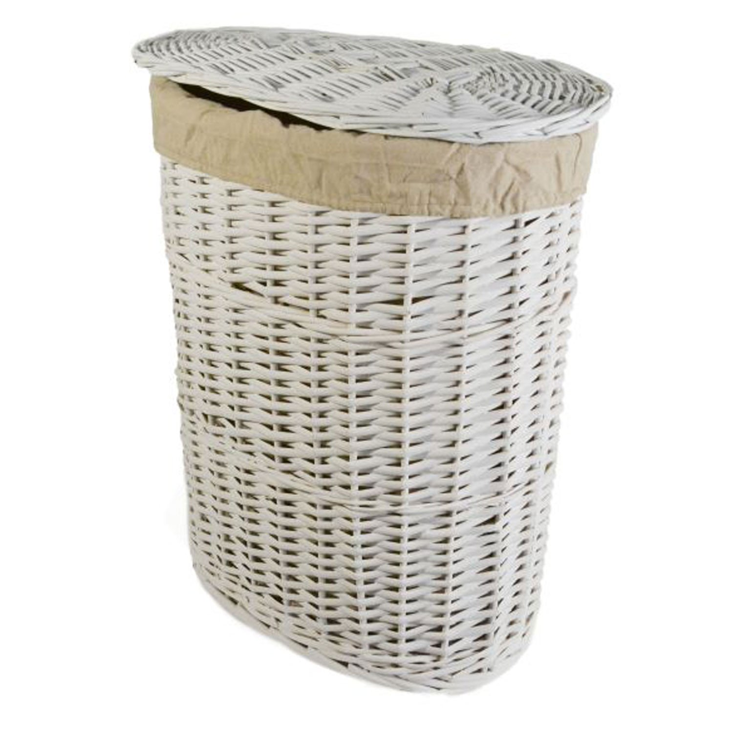 Small Laundry Cart Oval Willow Small Laundry Basket White
