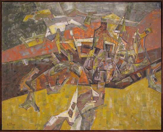 Four Fields with Ochre Leon Bibel oil on canvas 1962