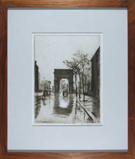 Elias Grossman Rain on the Square (Washington Square, NYC)