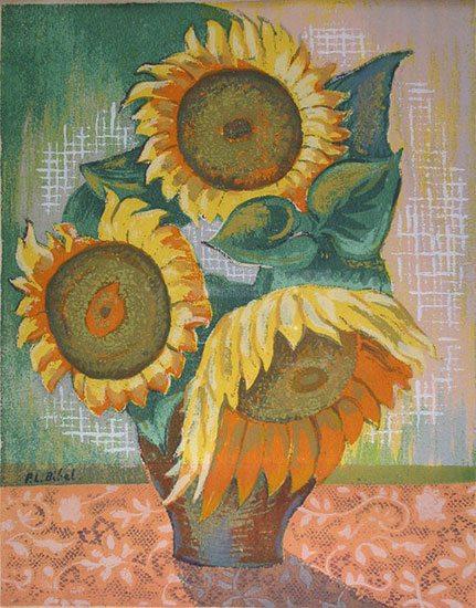 Sunflowers Leon Bibel silk screen; 1939