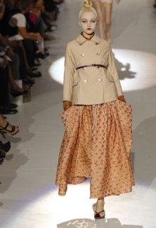 The cropped jacket, nice apricot flowing skirt