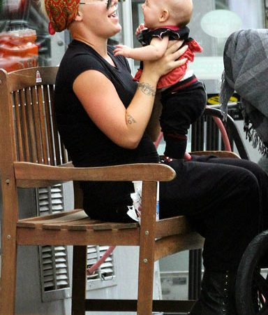 Pink played with daughter Willow Sage, nearly 4 months, at a vegan restaurant in NYC