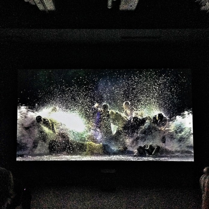 Screenshot of Bill Viola's (*1951) video installation «The Raft» from the year 2004 shown at Fridericianum in Kassel as part of the 14th edition of documenta