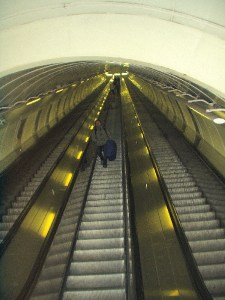 looking up metro escalator