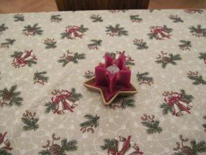 Christmas Table Cloth and star candle