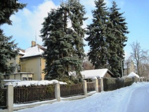 Nice snow covered houses and streets, Bila Hora, Prague