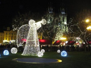 Lighted angel in old town Prague 2011