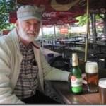 enjoying Pilsner in beer garden, Prague