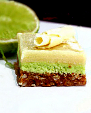 White Chocolate Key Lime Nanaimo Bars with a Coconut Macadamia Graham Cracker Crust