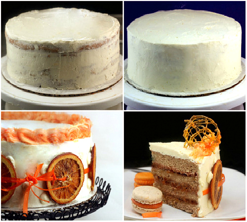 Roasted Pecan Cake with Caramel Orange Marmalade and Burnt Orange Buttercream