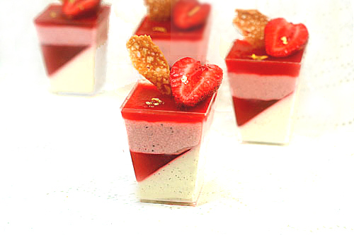 Triple Strawberry (Mousse, Gelee, Coulis) Vanilla Bean Yogurt Panna Cotta Parfaits
