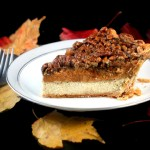 Three Pies in One – Cheesecake Pumpkin Pecan Pie