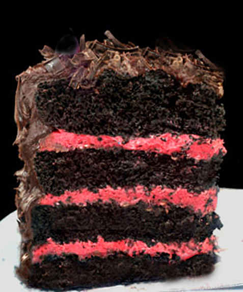 One Bowl Deep Dark Chocolate Cake with Jordan Almond Ganache and  Fresh Raspberry Buttercream