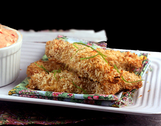 Crunchy Baked Coconut Lime Chicken Strips