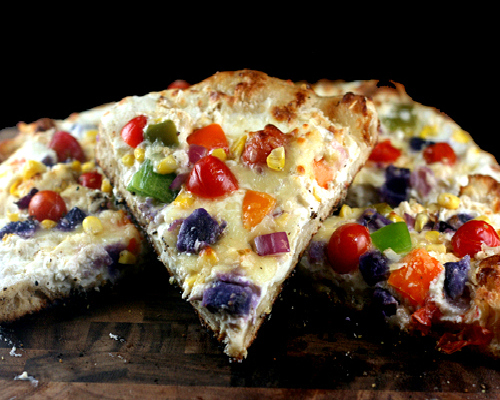 Three Cheese Roasted Garlic Rainbow Vegetable Pizza
