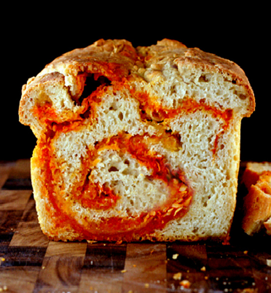 Crusty Sriracha Cheddar - Pepper Jack Swirl Bread
